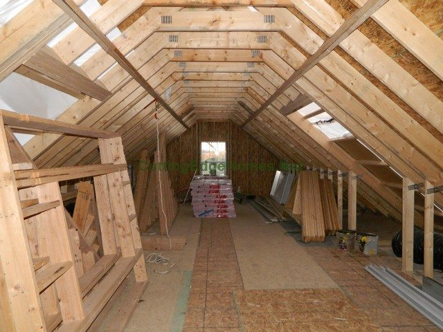 Highland Cape with Unfinished Attic: Interior 3 Weeks After Delivery - Unfinished Attic Facing Rear